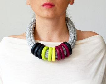 Big bold chunky statement necklace/metal free necklace/chunky statement necklace/crochet necklace/plus size jewelry/extravagant jewelry/bold