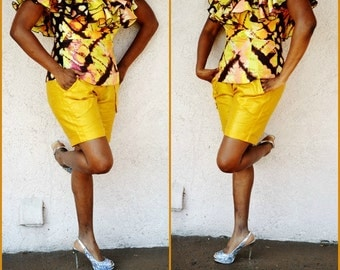 African Print Shirts, Yellow African Bazin Shorts , African print shorts, African Print Summer Shorts, African Tribal Shorts