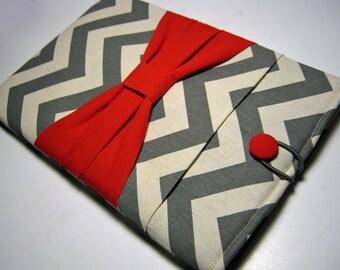 Macbook Air Case, Macbook Air Sleeve, 13 inch Macbook Air Cover, 13 inch Macbook Air Case, Laptop Sleeve, Gray Chevron w/ Red Bow