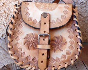 Hand Tooled Leather Shoulder Bag, Mexico Stamped