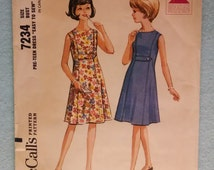 """Vintage McCall's 7234 Pre-Teen Dress Pattern - Size 8 PT, Bust 28 """"Easy To Sew"""" Petite, Teen, Tween Dress Partially Cut"""