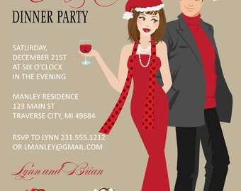 Couples Christmas Party  Invitations - Digital Printable Christmas Invitation - DIY Holiday Card