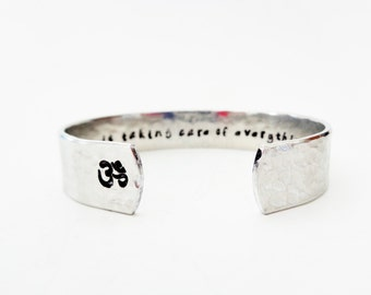 Om Secret Message Cuff Bracelet, The Universe is Taking Care of Everything Else, Yoga Jewelry, Yoga Bracelet, Jewelry with Meaning