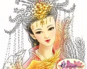 Digital Stamp - Traditional Chinese Bride and Phoenix - Instant Download - Fantasy Line Art for Cards & Crafts by Mitzi Sato-Wiuff