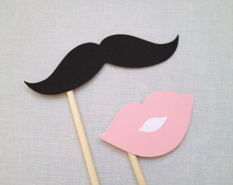 Mustache & Pink Lips Photo Booth Props