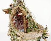 Fae Fairy House, Home, Natural Dwelling, Mixed media art sculpture