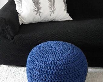 Cobalt Pouf Ottoman- Royal Blue Foot Pouf- Nursery Ottoman Chair-Glider Chair Footstool-Crochet Floor Cushion-Floor Pouf-Pouffe-Knit Ottoman