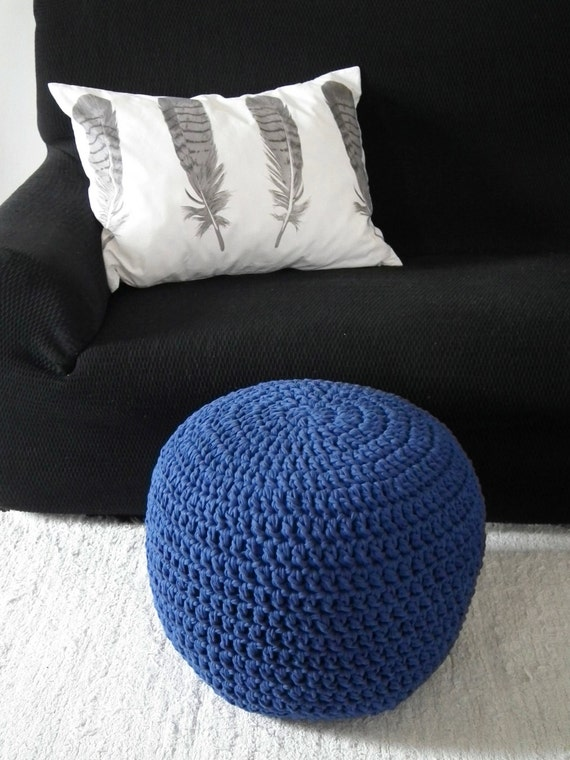 Cobalt Blue Floor Pouf Ottoman Royal Blue Foot Pouf Nursery
