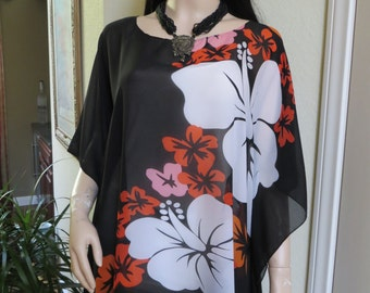 Coverup, Sheer Black Tropical Beach Coverup,  Womens Swimsuit Coverup