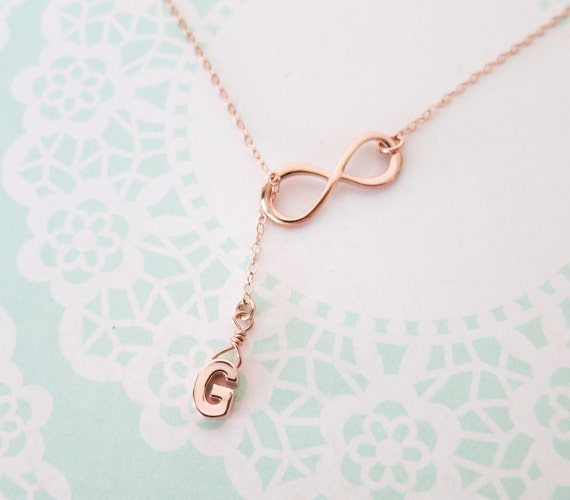 Rose Gold Initial and Infinity Lariat, Y Necklace, Personalised letter lariat necklace, bridesmaid gift, wedding bridesmaid necklace