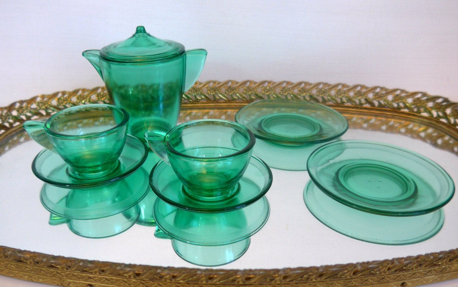 Vintage 8 Pc Child Tea Set Akro Agate American Maid Green