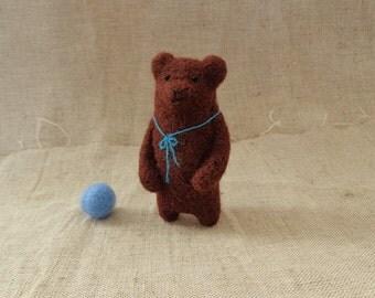 Felt Animal, Felted Bear Brooch,Brown Bear Brooch, Handmade Brooch, Needle  Felted Bear, Brown Bear