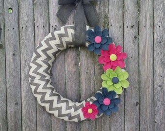 Year Round Burlap Wreath, Summer Burlap Wreath, Chevron Wreath, Navy, Hot Pink and Lime Green Wreath