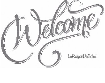 Cross stitch pattern welcome text home frame friendly.