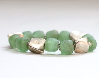boho bracelet spring jewelry beaded bracelet green bottle glass stretch bracelet statement bracelet layering bracelet
