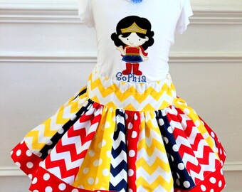 Girls Birthday Wonder Woman outfit Girls super hero outfit skirt set  yellow red navy blue chevron and polka dot skirt  Super Hero skirt set