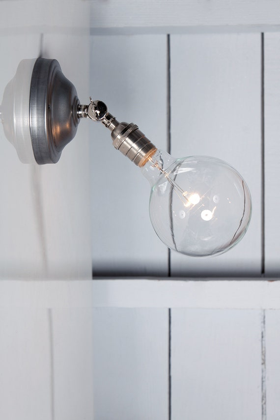 Industrial lighting bare bulb wall sconce angled lamp - Applique murale ampoule ...