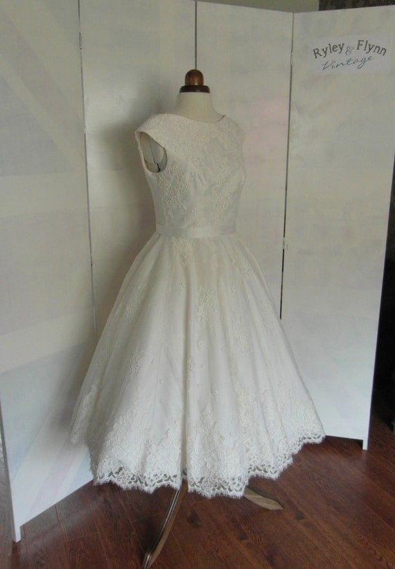 Items similar to lola rose lace tea length wedding dress for Etsy tea length wedding dress