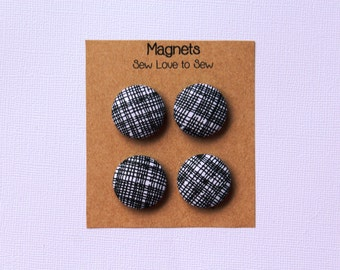 Fabric Covered Button Magnets / White and Black Magnets / Strong Magnets / Refrigerator Magnets