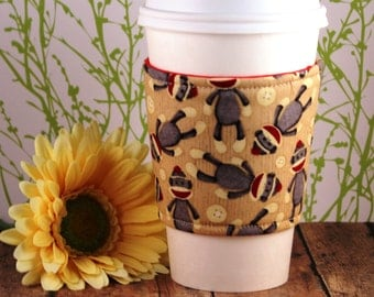 Fabric Coffee Cozy / Sock Monkey Coffee Cozy / Coffee Cozy  / Tea Cozy