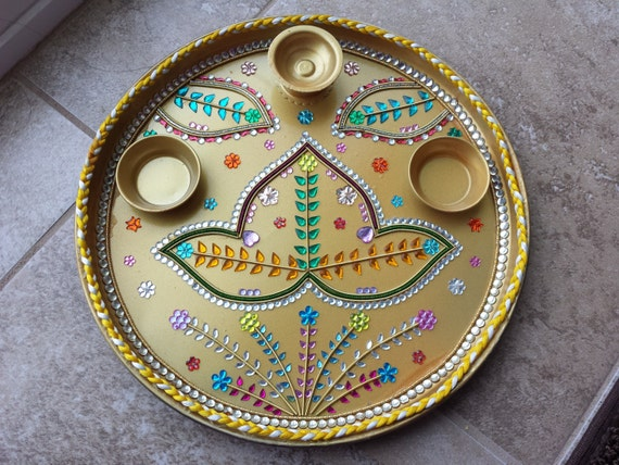 Decorative plate puja thali aarti thali platter by for Aarti plate decoration
