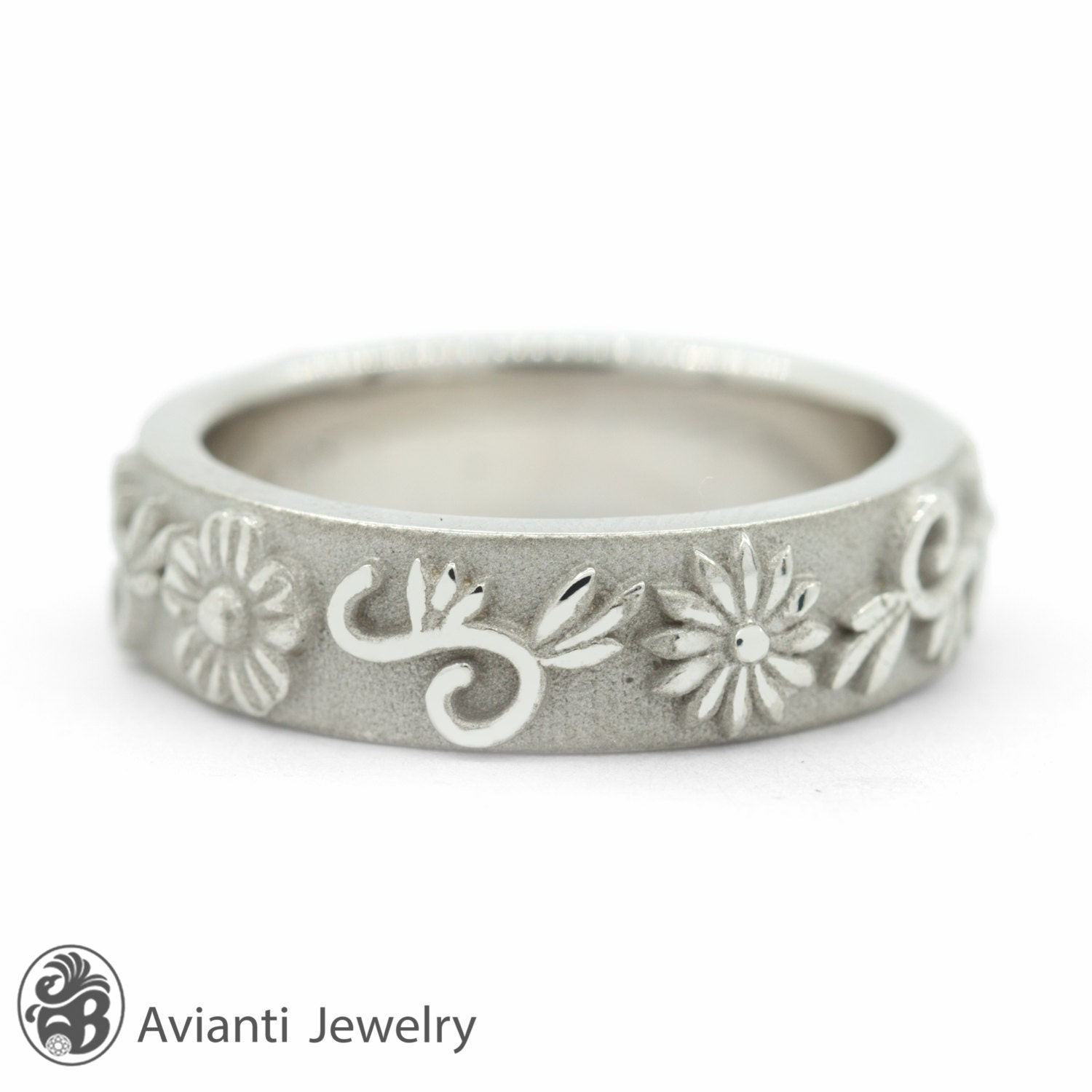 Floral Bands: Flower Band White Gold Band Engraved Flowers Wedding Band