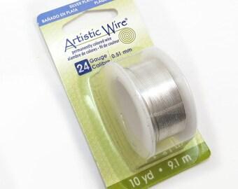 Artistic Wire, 24 Gauge Silver Wire, Non-Tarnish Silver Artistic Wire, 10 Yard Spool, Wire Wrapping Supplies, Item 115wr