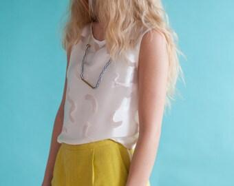 Mustard Silk Shorts