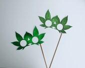 Marijuana Photo Booth Props -2 x Mary Jane, Ganja, Pot Leaf Glitter Glasses
