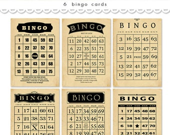 "Digital vintage bingo cards/ black and tan bingo cards / printable bingo cards / scrapbooking ephemera cards / 5"" x 7"" and 4"" x 6"""