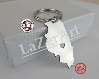 Brushed Stainless Steel (316) I heart Illinois Keychain made in USA