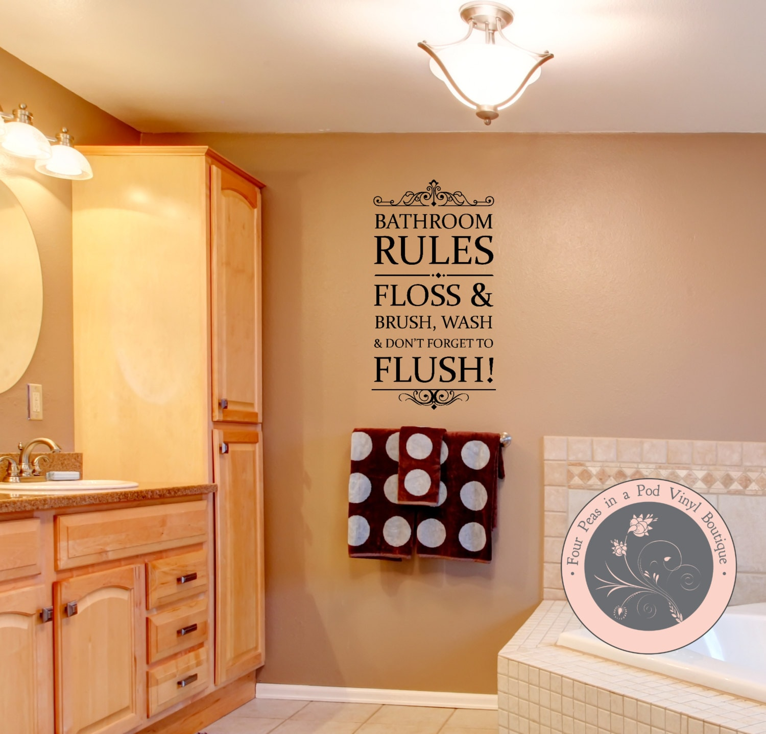 Bathroom rules wall decal bathroom decor by for Bathroom decor rules