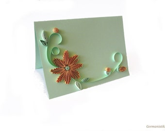 Pale Green Quilled Wedding Invitation Set, 10 Wedding Cards, Announcement Card, Annyversary