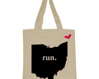 RUN Ohio Canvas Tote Bag