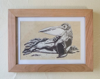 Framed Animal Print - 5x7 - Long Bill Hunter - Handmade screenprint