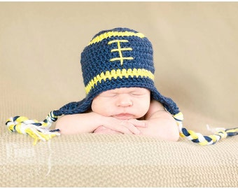 Blue and Yellow Crochet Football Hat - Baby Football Hat - Sizes Newborn through 12 mo