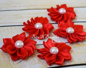 Red satin ribbon flower with pearl set of  5, 10 or 20 - wholesale flowers - wholesale headband supplies - wholesale satin flowers