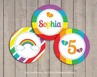 Rainbow Cupcake Toppers  / Rainbow Birthday Printables / Rainbow Decoration  / Rainbow party printable / Printable DIY Girlie