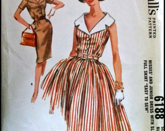 McCall's 6188  Misses' And Junior Dress with Slim or Full Skirt  Bust 31""