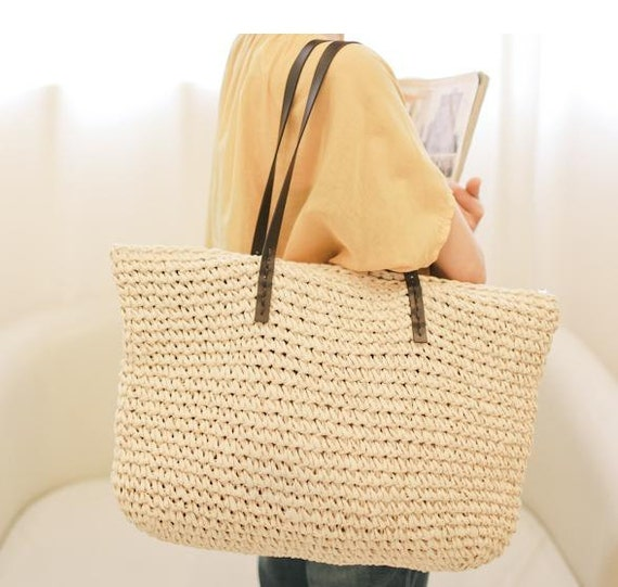 Crochet Straw Beach Bag Tutorial And Pattern : crocheted raffia straw beach nature brown tote bag with
