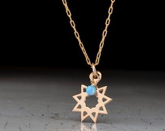 Bahai Star - nine pointed star necklace - Bahai star jewelry - light blue Opal necklace