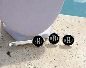 Personalized Black Cufflinks, Personalized Tie Clip, Monogram Cufflinks, Monogram Tie Clip, Mens Cufflinks, Mens Cuff links, Bridal Party