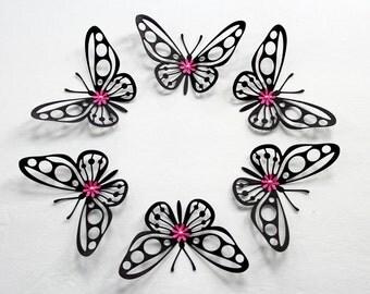 Black Butterflies, Butterfly wall art, 3d butterflies, Paper butterflies, butterflies, Large butterflies, Wall butterflies, butterfly art