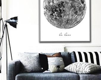 Vintage La Lune Moon Poster PRINTABLE FILE - same price / 6 sizes, Vintage luna print, Moon art, Bedroom decor, Wall art, Dorm Room art