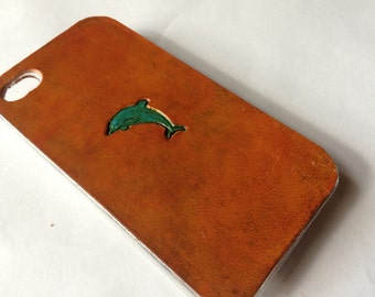 Leather iPhone 4s Case / Leather iPhone 4 Case - The Lodgepole Case - Leaping Dolphin