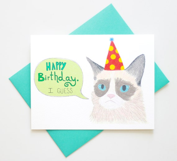 Funny Sarcastic Birthday Meme : Meme funny sarcastic cat birthday card by turtlessoup on etsy