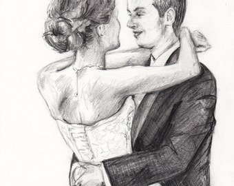 Custom Couple Portrait Sketch 8 x 10