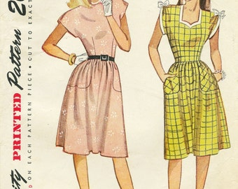 SALE 1940s Simplicity 1681 One-Piece Dress Sewing Pattern