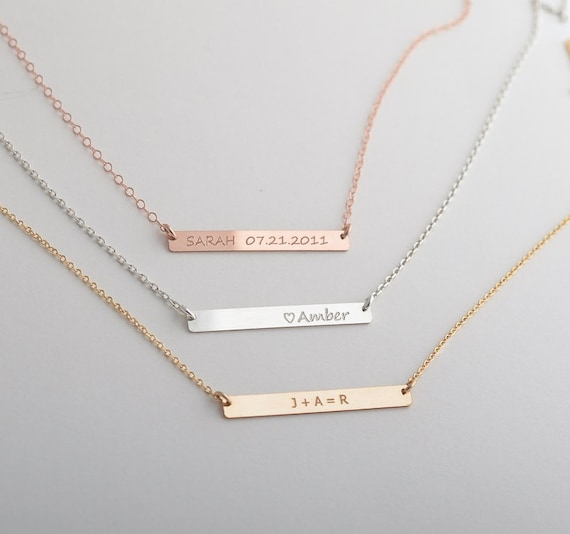 name bar necklace nameplate necklace personalize by foressti