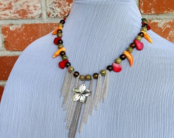 Road to Hana- Multi Gemstone Cascading Chain Statement Necklace